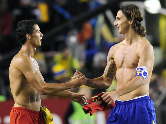 Cristiano Ronaldo and Zlatan Ibrahimovic face off in a The World Cup Qualifier Play Offs