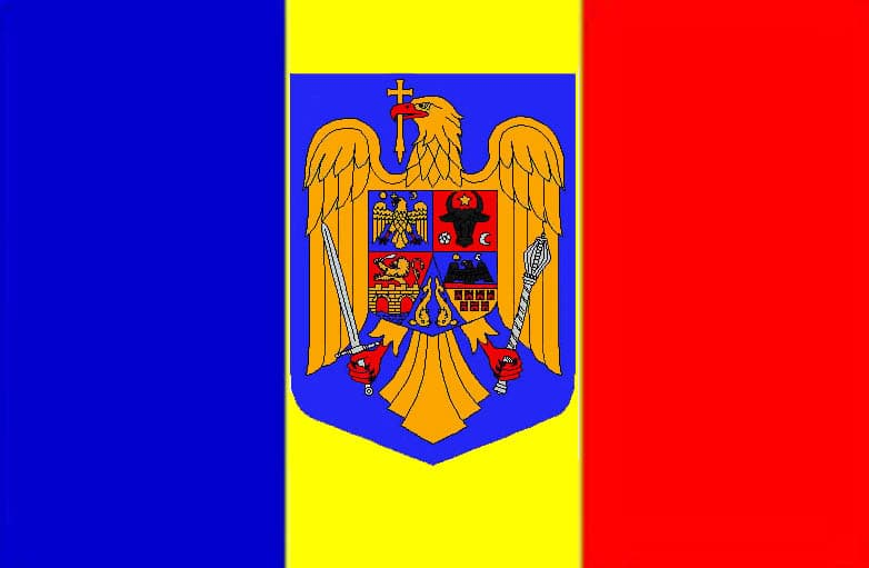 Coat of arms of Romania Flag