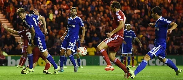Middlesborough's Christian Stuani scores in the 3-1 win over Brentford.