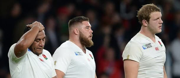 England players look dejected after the 25-28 loss to Wales