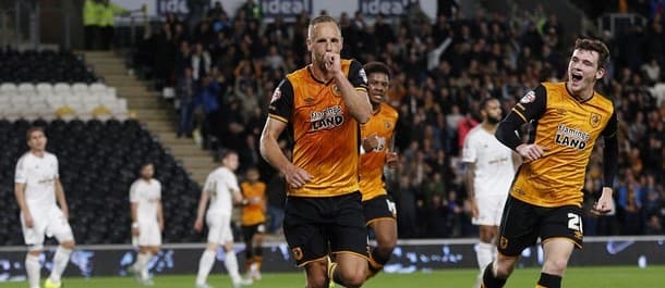 Hull's David Meyler scores the winner against Swansea in the League Cup