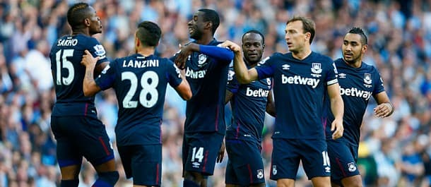 West Ham celebrate scoring at Manchester City