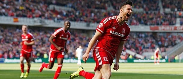 David Nugent celebrates Middlesbrough's opener in the 3-0 win against Leeds