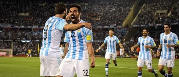 Ezequiel Lavezzi opened the scoring in Argentina's 1-1 draw with Brazil.