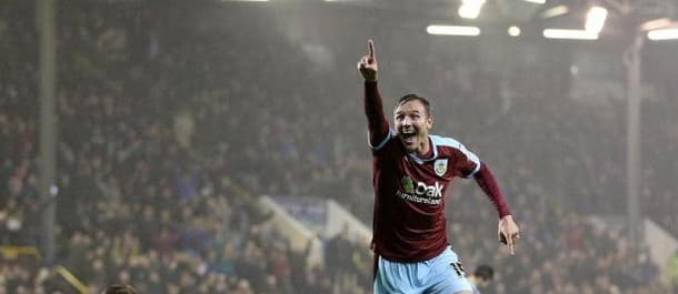 Matt Taylor celebrates scoring Burnley's third goal in the win over Fulham