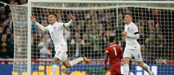 England's Dele Alli celebrates his first International goal in the 2-0 win over France.
