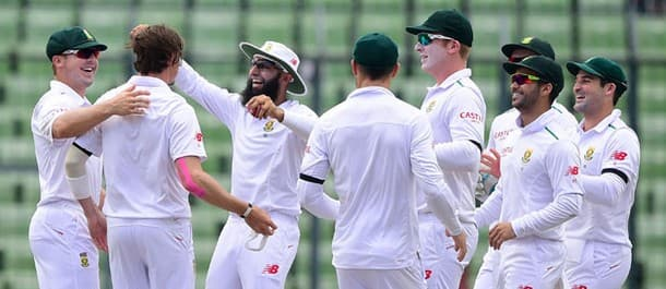 South Africa celebrate a good day of bowling against Bangladesh.
