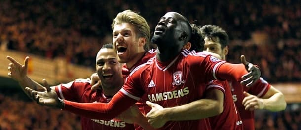 Middlesbrough celebrate their opener in the 2-0 win against Derby.
