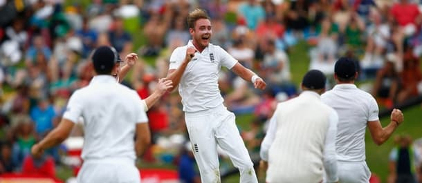 Stuart Broad leaps in celebration after yet another wicket against South Africa.