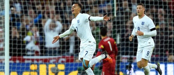 Dele Alli celebrates his wondergoal for England against France.
