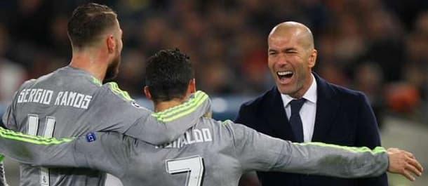 Zidane and Ramos celebrate with Ronaldo.