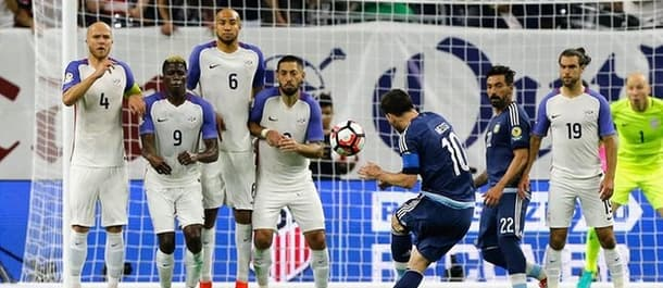 Lionel Messi became Argentina's top goal scorer of all time with this free kick v USA.
