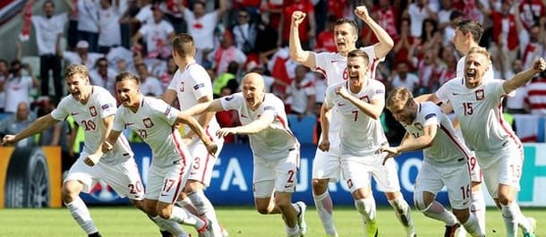Poland beat Switzerland on penalties in the last 16.