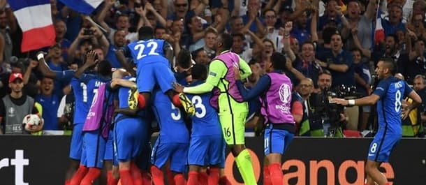 France celebrates after beating Germany in the semi final.