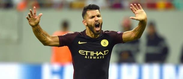 Sergio Aguero scored a hat-trick despite missing two penalties against Steaua.