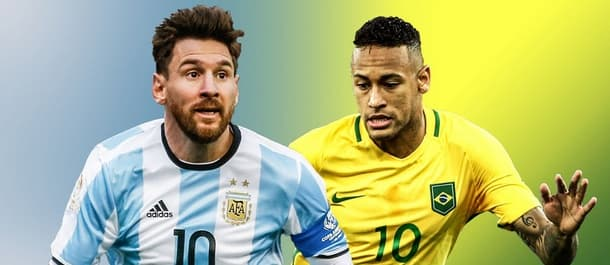 Neymar and Messi go head-to-head for Brazil v Argentina.