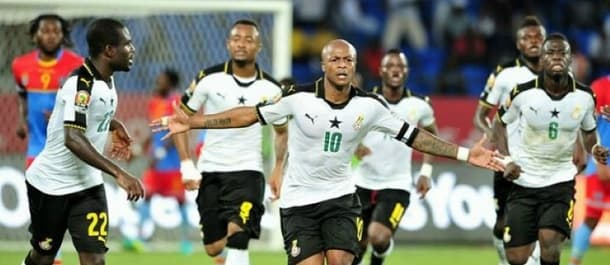 Andre Ayew scored the decisive penalty as Ghana beat DR Congo 2-1.