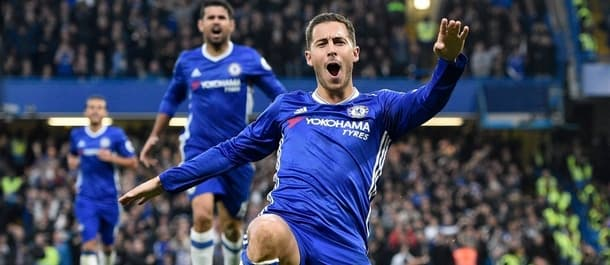 Eden Hazard celebrates his goal in Chelsea's 4-0 win over Man United.