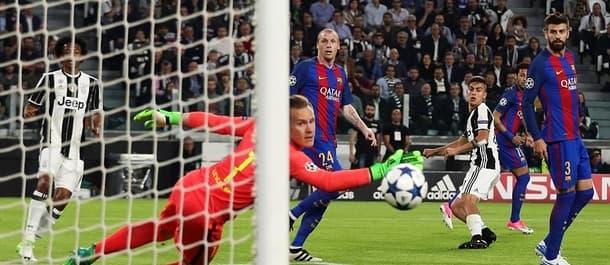 Juventus beat Barcelona 3-0 in the quarter final first leg.