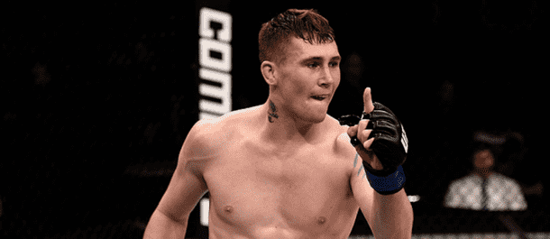 Rising prospect Darren Till celebrates after a UFC victory