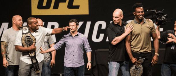 Daniel Cormier and Jon Jones at the UFC Summer Kickoff