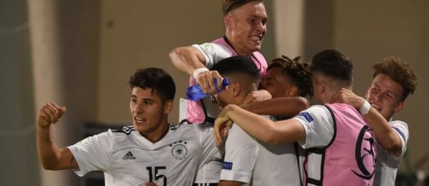 Germany's under-19 players celebrate their opener against Netherlands before losing 4-1.