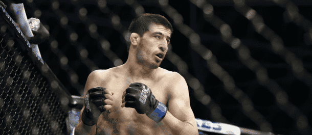 Rustam Khabilov eyes his opponent