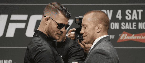 Michael Bisping and Georges St-Pierre stare down before UFC 217