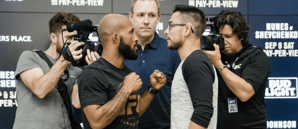 Demetrious Johnson vs. Ray Borg staredown for UFC 216