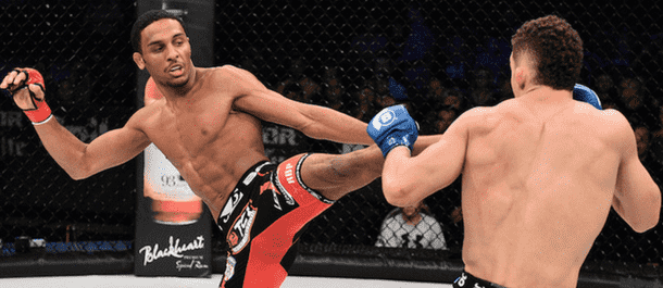 AJ McKee plants a kick in Bellator MMA