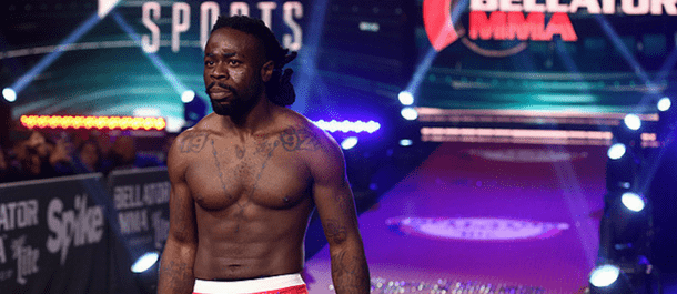 Kevin Ferguson Jr. walks into the Bellator MMA Cage