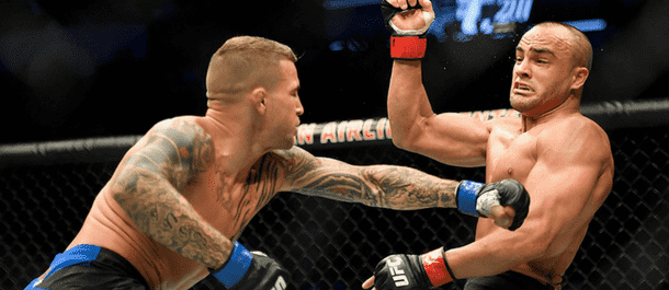 Dustin Poirier lands a punch on Eddie Alvarez