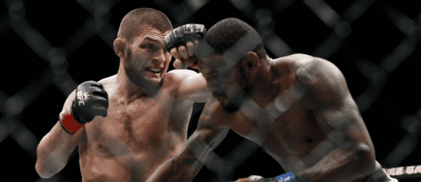 Khabib Nurmagomedov strikes Michael Johnson