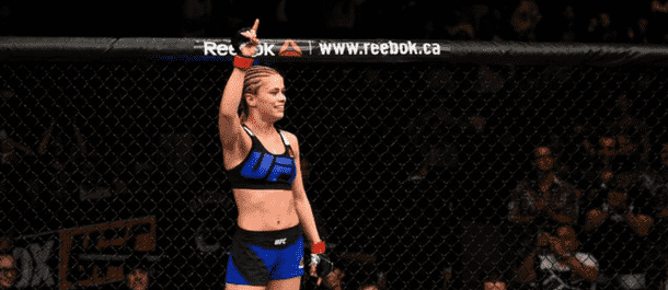 Paige VanZant celebrates after defeating Bec Rawlings
