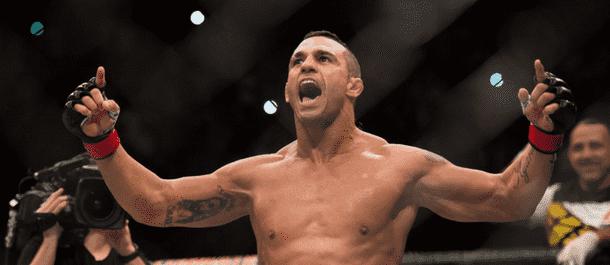 Vitor Belfort celebrates after defeating Nate Marquardt