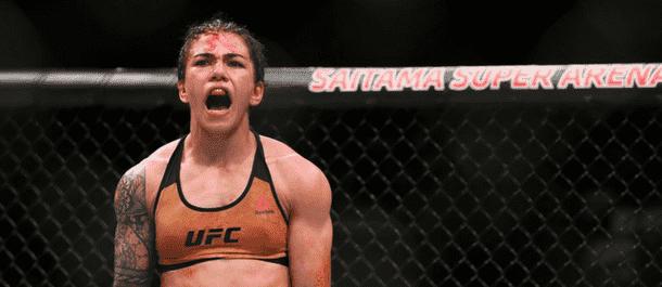Jessica Andrade celebrates a victory over Claudia Gadelha