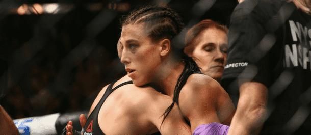 Joanna Jedrzejczyk congratulates Rose Namajunas at UFC 223