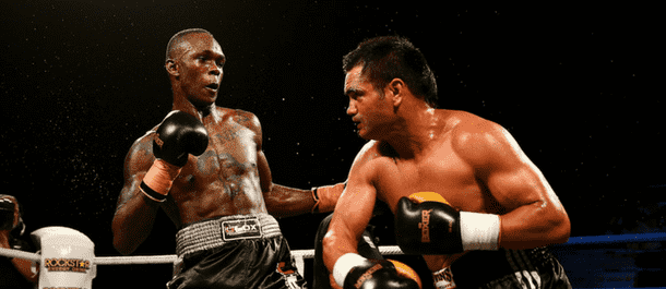 Israel Adesanya battles in kickboxing