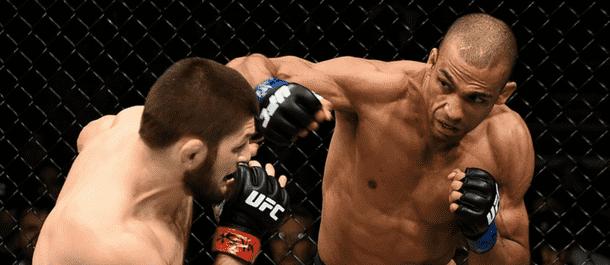 Edson Barboza strikes Khabib Nurmagomedov at UFC 219