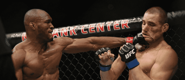 Kamaru Usman strikes away inside the cage