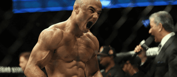 Marlon Moraes screams after UFC victory