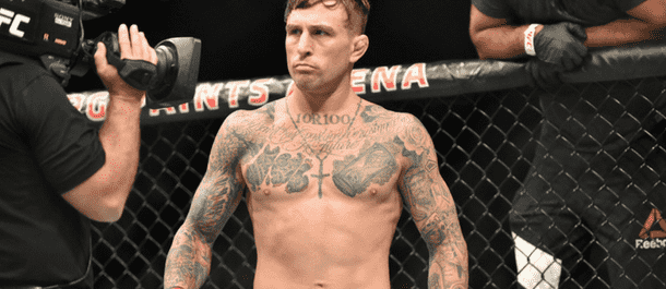 Gregor Gillespie in the UFC's cage ready to fight