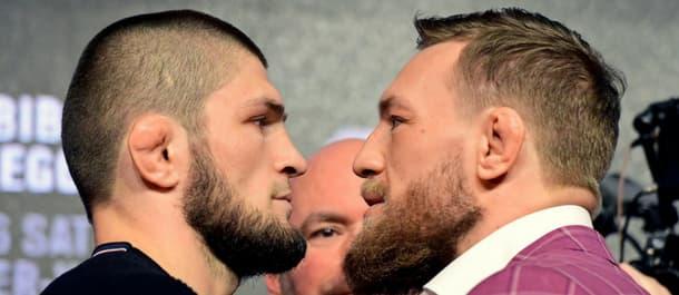 Lightweight champion Khabib Nurmagomedov faces-off with Conor McGregor