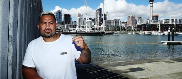 Mark Hunt poses for a photo before a UFC fight in Australia