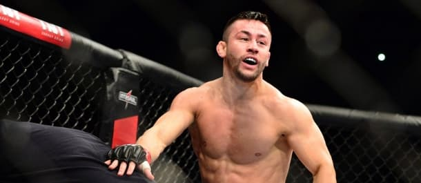 Pedro Munhoz celebrates a victory in the UFC
