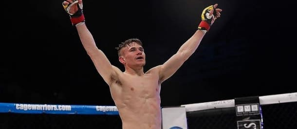 Nathaniel Wood celebrates a win in Cage Warriors