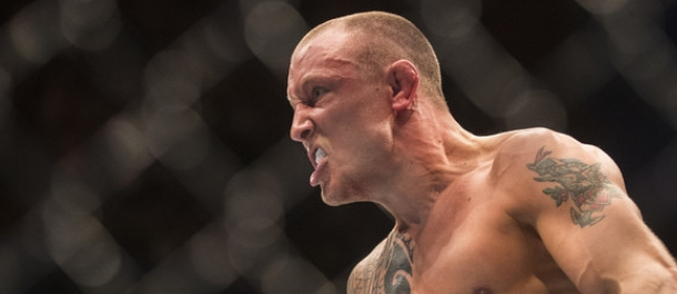 Jack Hermansson reacts after defeating Alex Nicholson