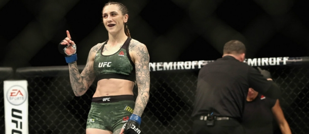 Megan Anderson celebrates her UFC win