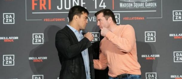 Chael Sonnen and Lyoto Machida stare down before Bellator 222