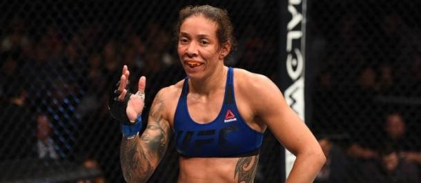 Germaine de Randamie celebrates after a UFC win